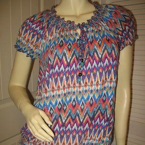 1118e0197fd Indigo Tops | Womens Peasant Top Shirt Multicolor Zigzag Chevron ...